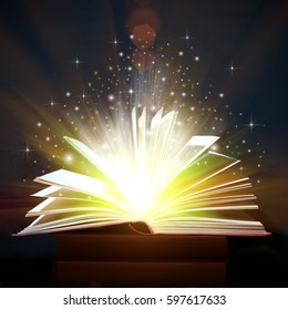 Opened Book With Magic Lights,  Magic Background
