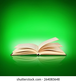 Opened book on green background