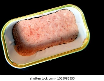Opened can of Spam isolated,