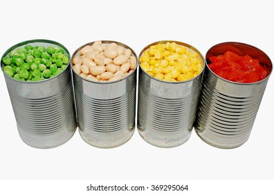 Opened cans of peas, cannellini beans, corn and tomatoes on a white background