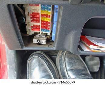 Opened car electric system fuses block and control socket