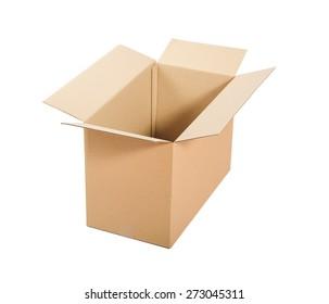 Opened cardboard box Isolated on white background.