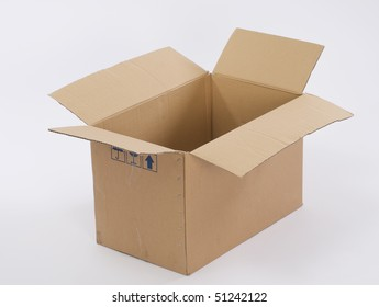 opened cardboard box isolated on plain background