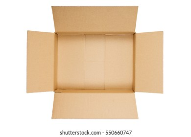 Opened cardboard box isolated on white background. Top view