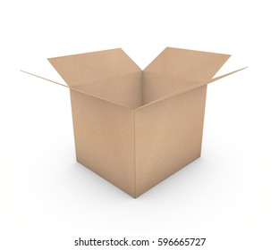 Opened cardboard box isolated on white background. Front top view. 3d rendering.