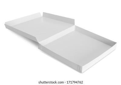 opened cardboard box isolated over white background