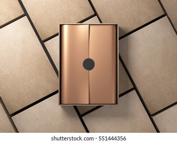 Opened cardboard Box Mockup with golden wrapping paper and circle sticker, Horizontal, 3d rendering