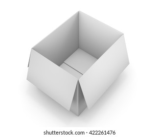 Opened cardboard box package, isolated, white background 3d rendering