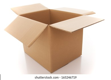 opened cardboard box parcel (isolated on white)