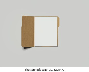 Opened cardboard folder with papers, 3d rendering