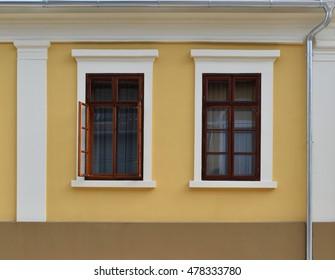 opened and closed baroque windows at Baja, Hungary