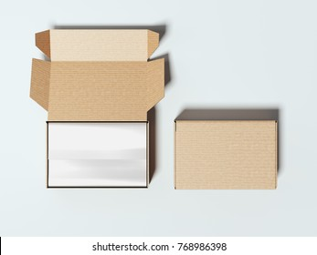 Opened and closed blank cardboard packages. 3d rendering