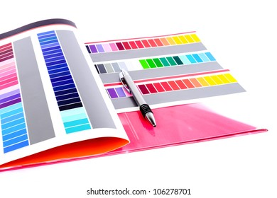 Opened color card with various colors.