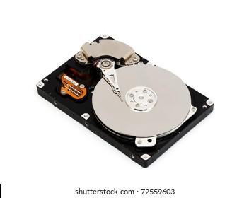 Opened computer harddisk isolated on white background