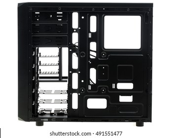 Opened computer system unit. Isolated on a white background.