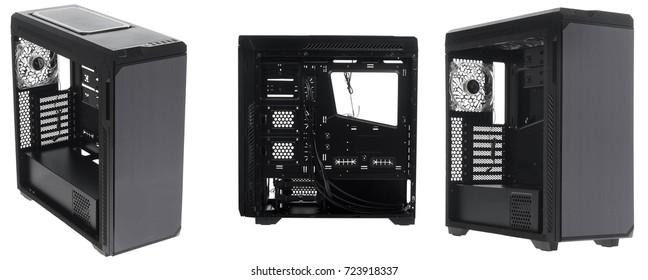 Opened computer system unit on a white background.