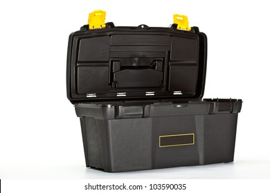 Opened construction toolbox on white background