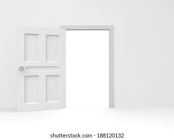 Opened door with empty white wall background