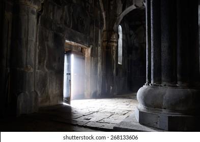 Opened door inside ancient christian church, Sanahin Monastery,unesco heritage, Armenia