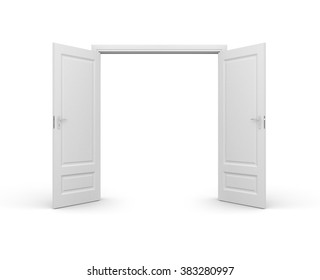 Opened door isolated on white