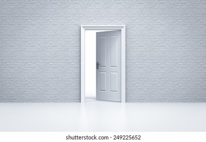 opened door with white brick wall concept