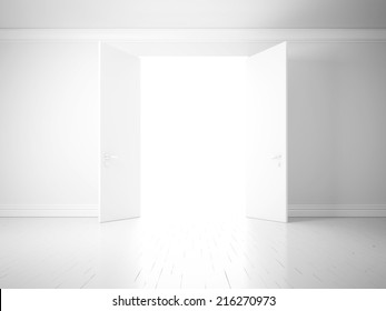 opened doors in white wall, way to success