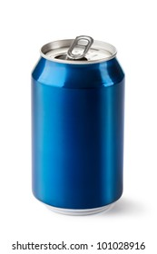 Opened drink can. Isolated on a white.