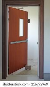 Opened emergency exit door