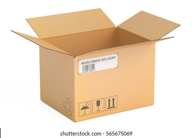 opened empty cardboard box, 3D rendering isolated on white background