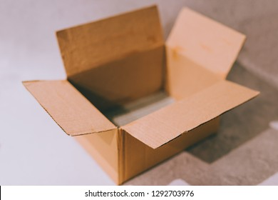 opened empty delivery parcel box, concept of logistics and shipping