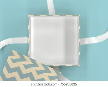 Opened and empty gift box with Brown and pattern gift wrap paper on blue background with copy space for Happy Birthday, Christmas, Happy New Year.3D illustration or 3D rendering.