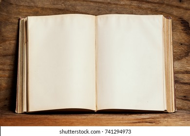 Opened empty old book on a bright wooden shelf on a plywood wall