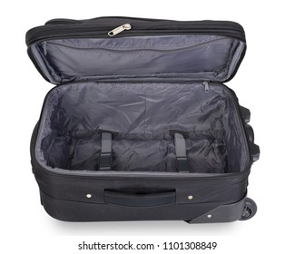 Opened empty suitcase isolated on white background, contains clipping path