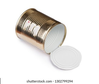 Opened empty tin can isolated on white background