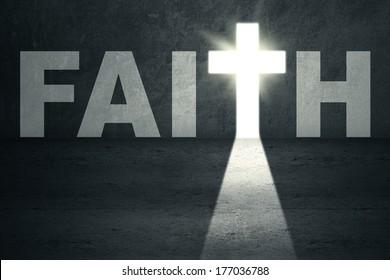 Opened faith door with bright light