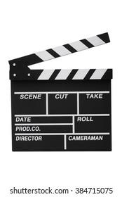 Opened film slate isolated on white background.