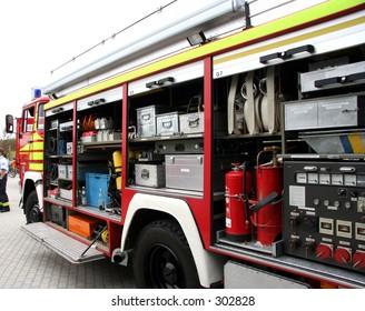 An opened up fire truck