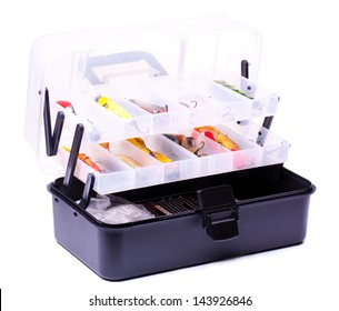 Opened fishing box with lures  isolated on white
