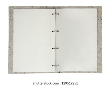 Opened folder with blank papers, clipping path included