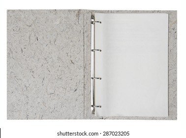 Opened folder with blank papers, clipping path included.