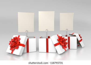 Opened gift boxes with blank cards