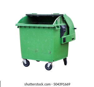 opened green garbage container isolated on white background