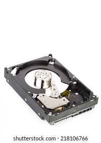 An opened hard drive close up
