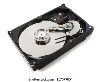 opened hard drive isloted on white