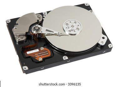Opened hard drive on white background