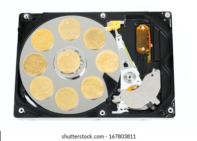 Opened hard without cower disk with israeli coins isolated on white background