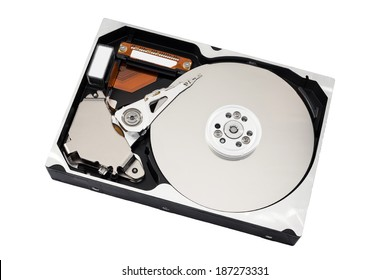 Opened harddisk isolated on white