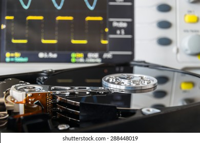 opened HDD in a test laboratory ready for data recovery or repair