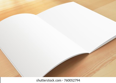Opened magazine on wooden background. 3d render. Blank pages.