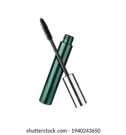 Opened mascara and brush white background isolated close up, green tube, black ink, eye mascara container, eyelash applicator stick, package box, eye lashes wand, beauty makeup accessory, cosmetics